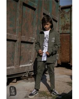 Bluza z nadrukiem niedźwiedzia 104-158 AFK22 khaki