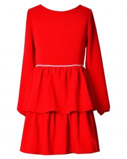 Modna sukienka z falbanami 134-164 Sophia czerwona