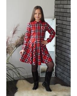 Świąteczna sukienka na guziki 134-164 Milena czerwony