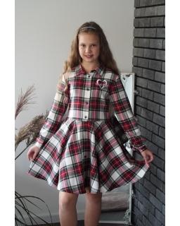Świąteczna sukienka na guziki 134-164 Milena czerwony 2