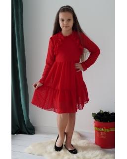Szyfonowa sukienka w kuleczki 134-164 Marysia czerwony