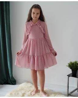 Szyfonowa sukienka w kuleczki 134-164 Marysia różowy