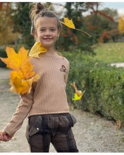 Dziewczęcy sweterek drobny wzór 134-152 Sylwia beż