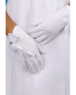 Białe rękawiczki komunijne z kokardką R07