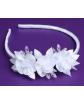 Biała opaska dla dziewczynki, 3 kwiatki P06