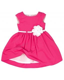 Elegancka różowa sukienka z kwiatkiem 74 - 158 Samanta