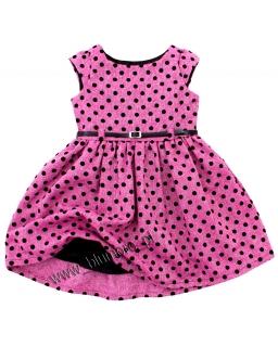 Elegancka i urocza sukienka w groszki 62 - 146 Rozalia róż
