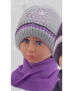 Czapka wraz z szalikiem w kolorze szarym dla dziewczynki 50 - 52