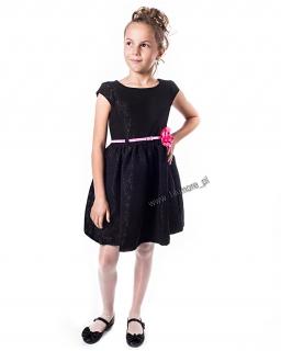 Elegancka sukienka wyjściowa 98 - 152 Amanda czarna z różem