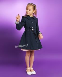 Płaszcz z kapturem dla dziewczynki 122 - 158 Marysia granat