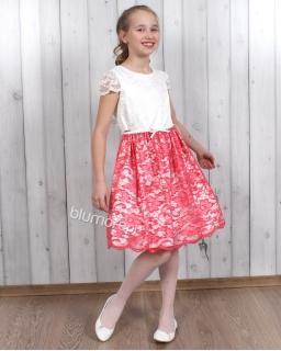 Cudowna sukienka z koronki 134 - 158 Paula ecru i koral