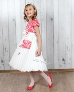 Cudna suknia dla dziewczynki 98 - 128 Paulina ecru i koral