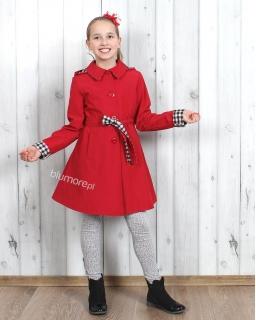 Płaszcze dla dziewczynek 122 - 158 Marysia czerwony