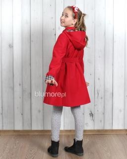 Płaszcz z kapturem dla dziewczynki 122-164 Marysia czerwony