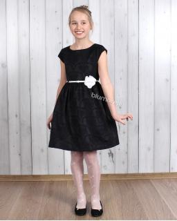 Sukienka z czarnym paskiem i kwiatkiem 98 - 152 Selena czarna