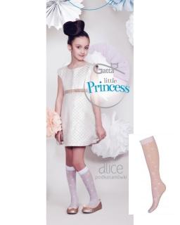 Białe podkolanówki wzorzyste GATTA 6-12 lat Alice wz10