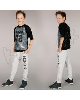 Spodnie dresowe z nadrukiem 116 - 152 spd02 szary