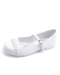 Białe buciki w kwiatuszki na komunię 28 - 38 Widia