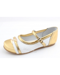 Eleganckie balerinki Zarro 27 - 36 BZ04 złoto i biel