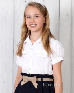 Koszula dziewczęca galowa 122 - 158 Kamilka biel