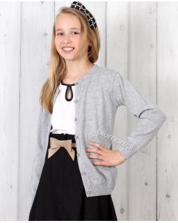Uniwersalny sweterek dziewczęcy 92 - 146 DZ-343 szary