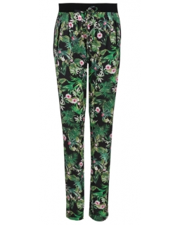 Przewiewne spodnie wzorzyste 152 - 170 BGSK-7939 czarny w kwiaty