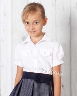 Bluzka koszulowa dla dziewczynki 122 - 158 biała