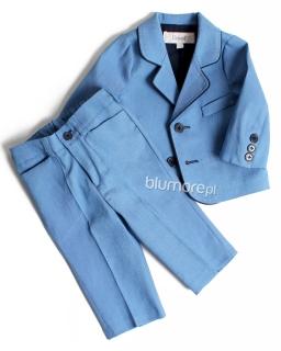Garnitur chłopięcy z modną lamówką 62 - 86 Karol niebieski