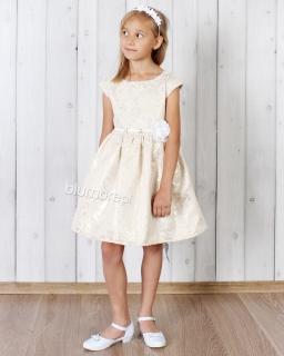 Sukienka z białym paskiem i kwiatkiem 62 - 158 Tacjana 2 złota