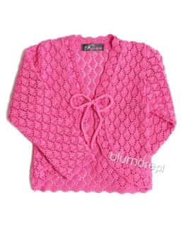 Pleciony sweterek dla dziewczynki 98-146 Ela fuksja