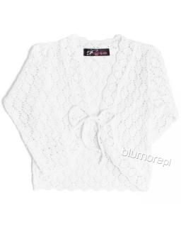 Ażurowy sweterek dla dziewczynki 92 - 146 Ela biały