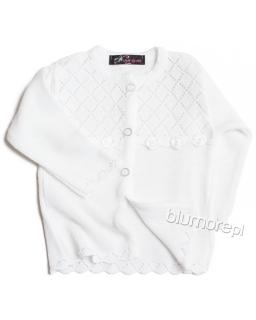 Śliczny ażurowy sweterek 56 - 104 NM-408 biały