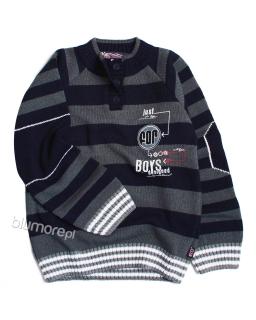 Sweter w pasy dla chłopca 110 - 158 Michał granat