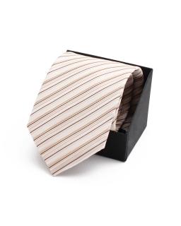 Krawat w cienkie prążki KR-19 beż