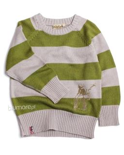Sweter w paski dla chłopca 98 - 122 Jaś zielono - szary