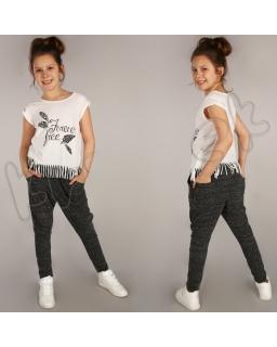 Genialne spodnie baggy z szerokim krokiem sp02 grafit
