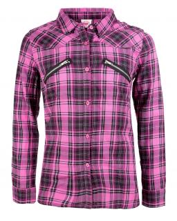 Modniarska koszula z zameczkami 116 - 146 GCS9764 różowa
