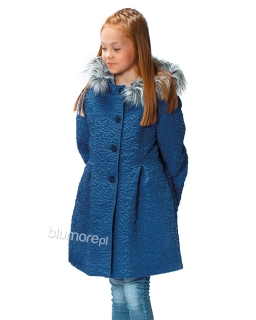 Wytłaczany płaszczyk dla dziewczynek 116 - 140 Sara niebieski