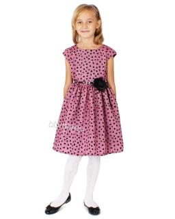 Sukienka w czarne serduszka 62 - 140 Lucyna 2 róż