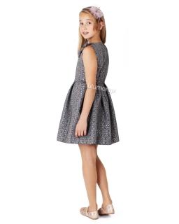 Piękna galowa sukienka z kokardą 128 - 146 Tina szara