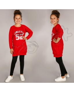 Długa bluza z kieszonkami 116 - 158 Roxi czerwona