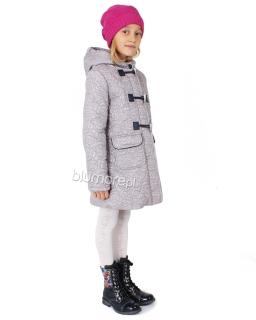 Płaszcz z kapturem dla dziewczynki 110 - 140 Dakota szary