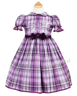 Dziewczęca sukienka w kratkę 98 Gabi fiolet