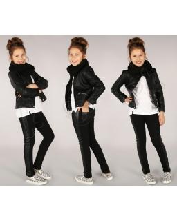 Ocieplane modne legginsy 116 - 158 lgg04 czarne