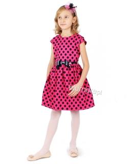 Twarzowa sukienka w grochy 104 - 140 Elena róż plus grafit