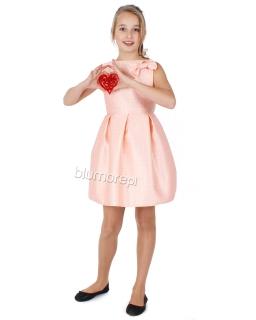 Piękna sukienka w tłoczony wzór 128 - 164 Tina łosoś