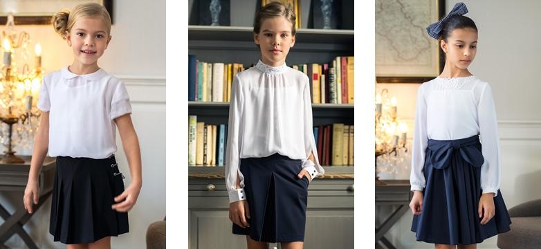 szkoła 2019 bluzki spódnice dla dziewczynek granatowe białe sklep